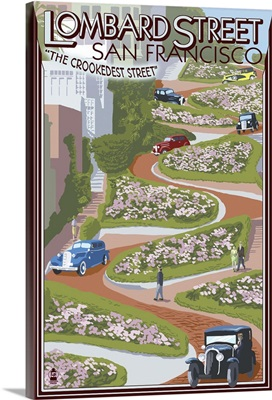 San Francisco, California - Lombard Street: Retro Travel Poster