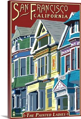 San Francisco, California - Painted Ladies: Retro Travel Poster