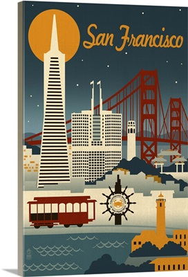 San Francisco, California, Retro Skyline