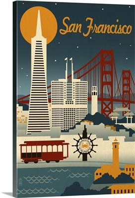San Francisco, California - Retro Skyline: Retro Travel Poster