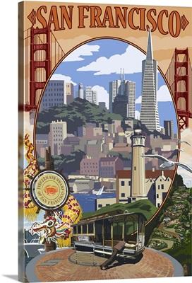 San Francisco, California Scenes: Retro Travel Poster