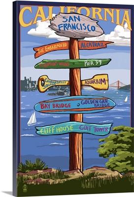 San Francisco, California - Sign Destinations: Retro Travel Poster