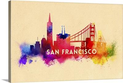 San Francisco, California, Skyline, Abstract Watercolor Artwork