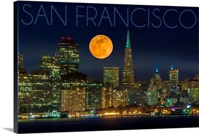 San Francisco, California, Skyline and Full Moon