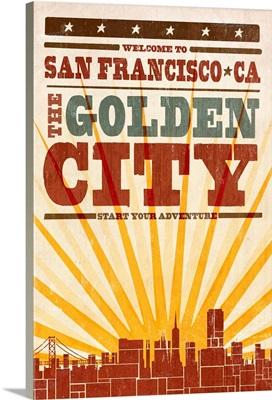 San Francisco, California, Skyline, Sunburst Screenprint Style