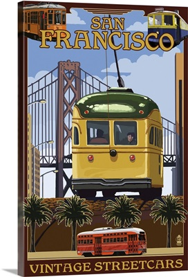 San Francisco, California Streetcars: Retro Travel Poster