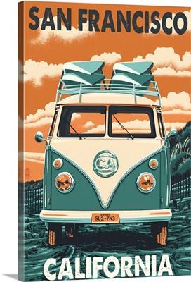 San Francisco, California - VW Van Letterpress: Retro Travel Poster