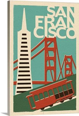 San Francisco, California - Woodblock: Retro Travel Poster