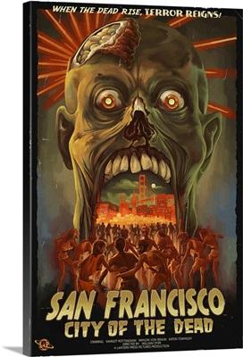 San Francisco City of the Dead Zombie Attack: Retro Travel Poster
