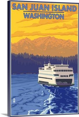 San Juan Island, Washington - Ferry and Mountains: Retro Travel Poster
