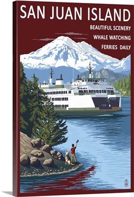 San Juan Island, Washington - Ferry in Passage: Retro Travel Poster