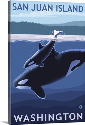 San Juan Island, Washington - Orca and Calf: Retro Travel Poster