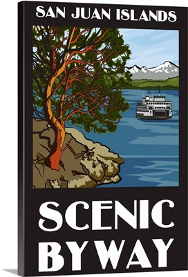San Juan Islands Scenic Byway, Washington - Official Logo: Retro Travel Poster