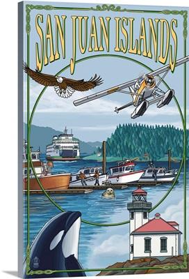 San Juan Islands, Washington - Montage: Retro Travel Poster