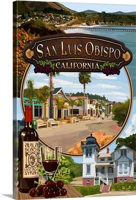 San Luis Obispo, California - Montage: Retro Travel Poster