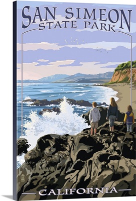 San Simeon State Park - Beach Scene - California: Retro Travel Poster
