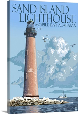 Sand Island Lighthouse - Mobile Bay, Alabama: Retro Travel Poster