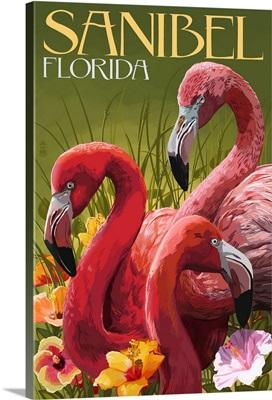 Sanibel, Florida - Flamingos: Retro Travel Poster