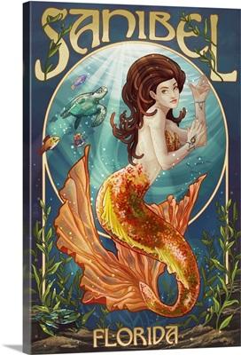 Sanibel, Florida - Mermaid: Retro Travel Poster