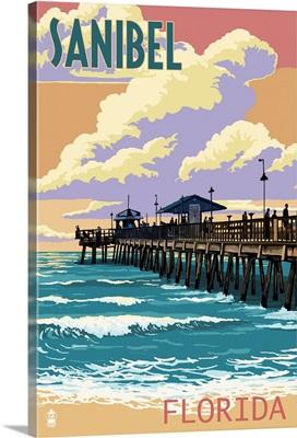 Sanibel, Florida - Pier and Sunset: Retro Travel Poster