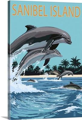 Sanibel Island, Florida - Dolphins Jumping: Retro Travel Poster