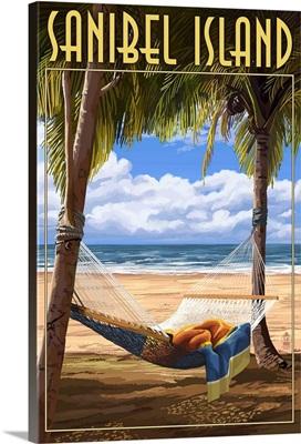Sanibel Island, Florida - Hammock: Retro Travel Poster