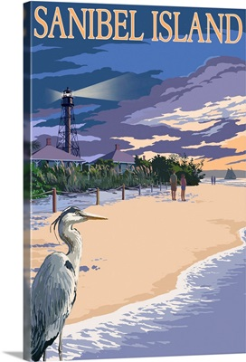 Sanibel Island, Florida - Lighthouse: Retro Travel Poster