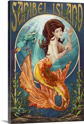 Sanibel Island, Florida - Mermaid: Retro Travel Poster