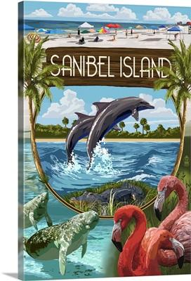 Sanibel Island, Florida - Montage : Retro Travel Poster