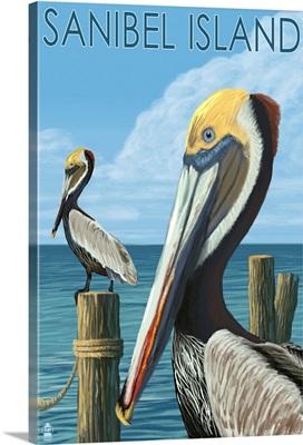 Sanibel Island, Florida - Pelican: Retro Travel Poster