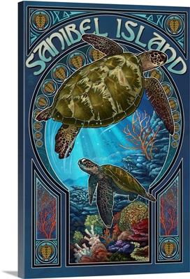 Sanibel Island, Florida - Sea Turtle Art Nouveau: Retro Travel Poster