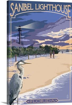 Sanibel Lighthouse - Sanibel, Florida: Retro Travel Poster