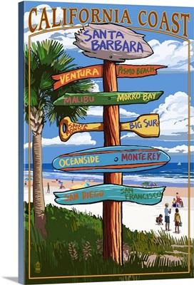 Santa Barbara, California - Sign Destinations: Retro Travel Poster