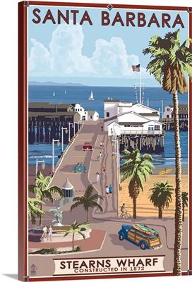 Santa Barbara, California - Stern's Wharf: Retro Travel Poster