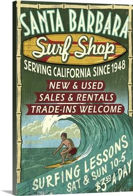 Santa Barbara, California - Surf Shop Vintage Sign: Retro Travel Poster