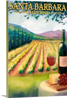 Santa Barbara, California - Vineyard Scene: Retro Travel Poster
