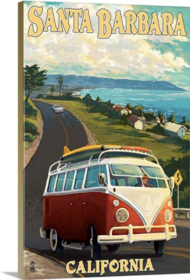 Santa Barbara, California - VW Van Scene: Retro Travel Poster