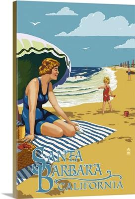 Santa Barbara, California - Woman on Beach: Retro Travel Poster