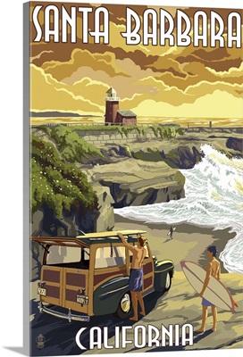 Santa Barbara, California - Woody and Lighthouse: Retro Travel Poster