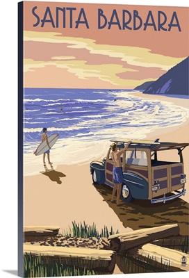 Santa Barbara, California - Woody on Beach: Retro Travel Poster