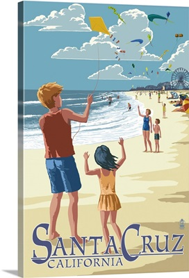 Santa Cruz, California - Beach and Kite Flyers: Retro Travel Poster