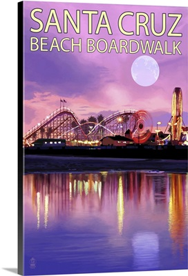 Santa Cruz, California - Beach Boardwalk and Moon at Twilight: Retro Travel Poster