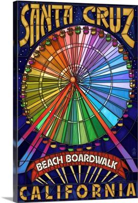 Santa Cruz, California - Beach Boardwalk Ferris Wheel: Retro Travel Poster