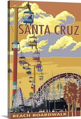 Santa Cruz, California - Beach Boardwalk: Retro Travel Poster