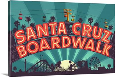 Santa Cruz, California - Beach Boardwalk Sign at Night: Retro Travel Poster