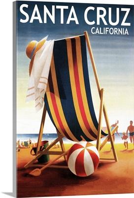 Santa Cruz, California, Beach Chair and Ball