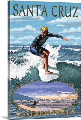 Santa Cruz, California - Day Surfer: Retro Travel Poster