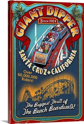 Santa Cruz, California - Giant Dipper Roller Coaster Vintage Sign: Retro Travel Poster
