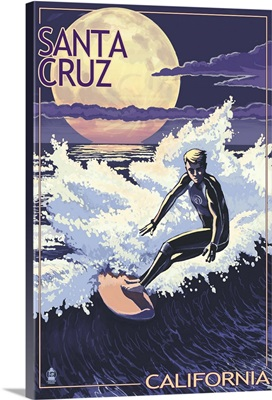 Santa Cruz, California - Night Surfer: Retro Travel Poster