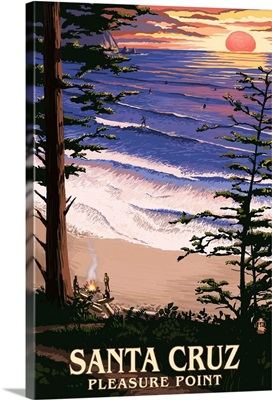 Santa Cruz, California - Pleasure Point Sunset and Surfers: Retro Travel Poster
